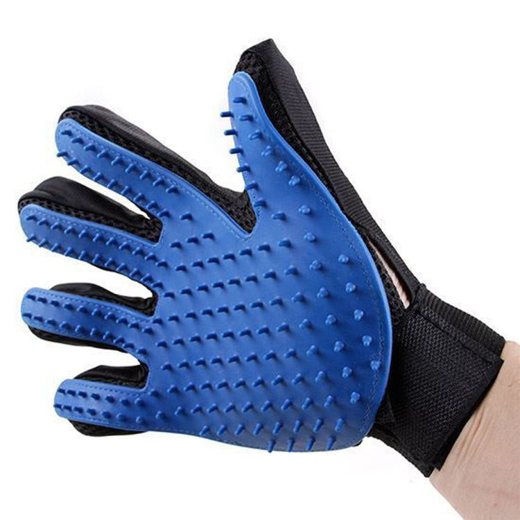 Dog Cat Grooming Glove Silicon Hair Removal Comb Blue