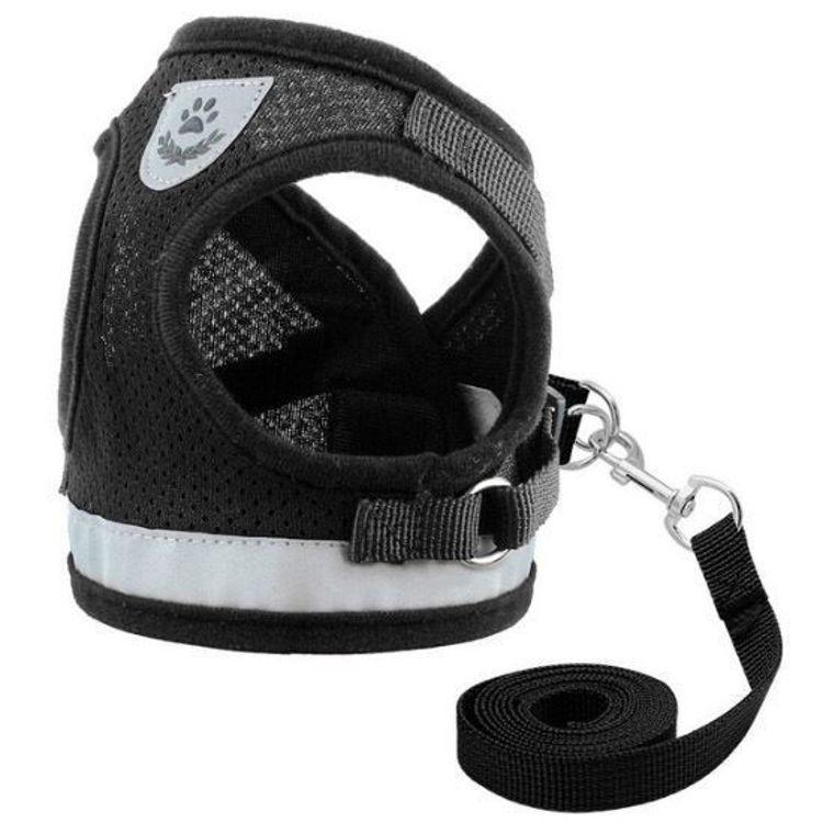 Dog Cat Harness Vest Reflective Leash Black