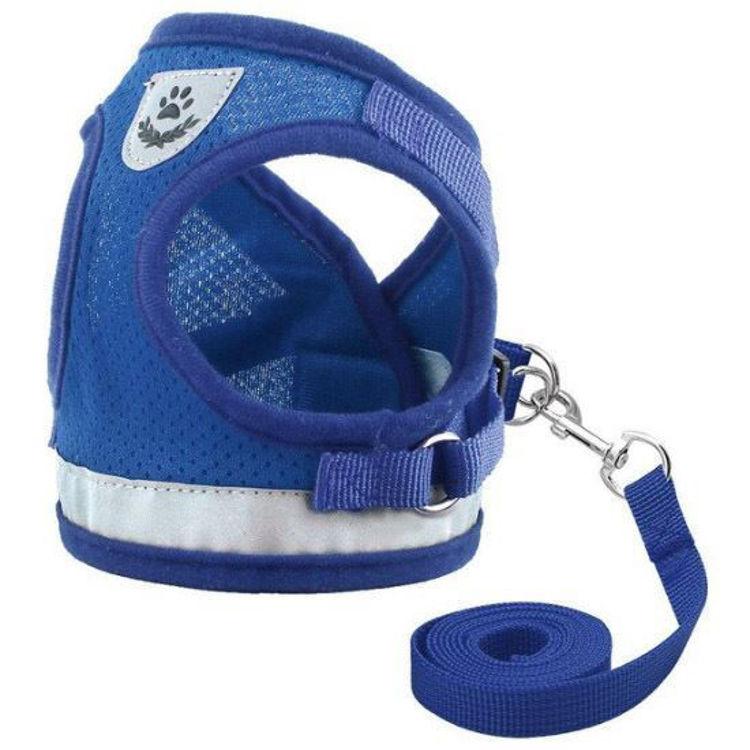 Dog Cat Harness Vest Reflective Leash Blue
