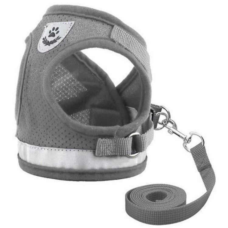 Dog Cat Harness Vest Reflective Leash Grey