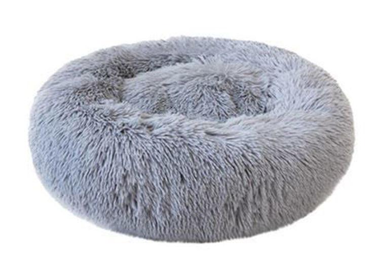 Dog Cat Soft Plush Bed Light Grey