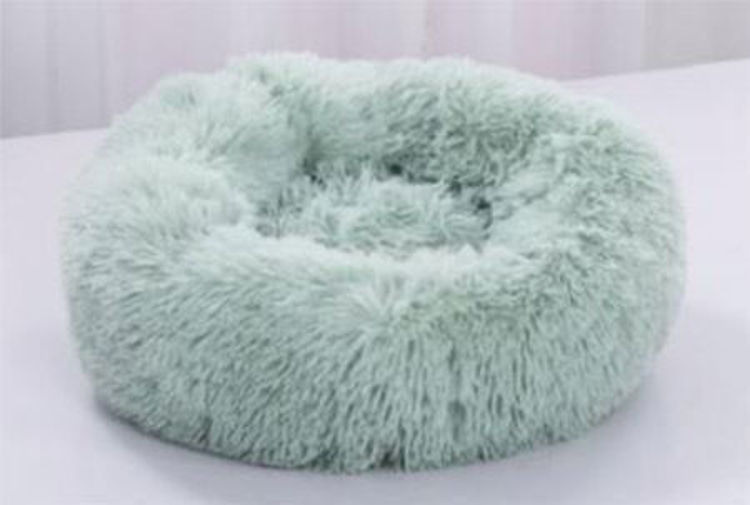 Dog Cat Soft Plush Donut Cuddler Bed Light Green