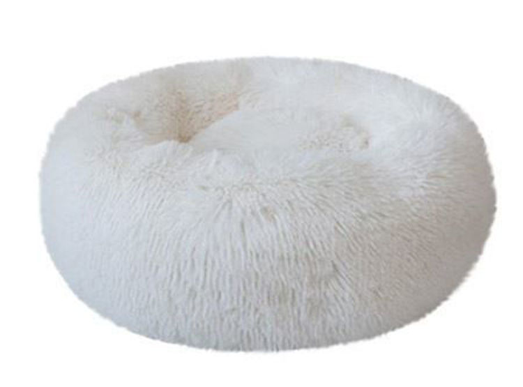 Dog Cat Soft Plush Donut Cuddler Bed White