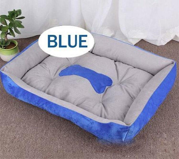 Dog Cat Soft Warm Bed Mat Washable Blue