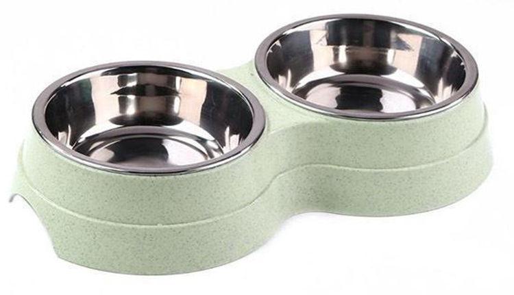 Dog Food And Water Bowl Green